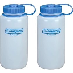 Nalgene HDPE BPA-Free Water Bottle, White, 32 oz. 2-Pack